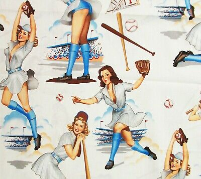 Alexander Henry Pin Up Fabric Swingers Women Baseball Softball Ivory Blue Cotton - Pin Up Lights