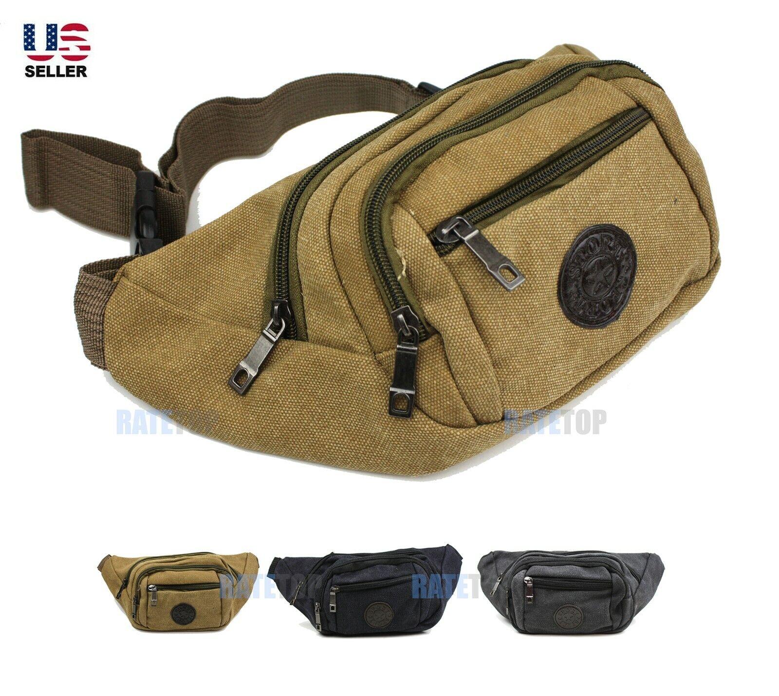 Canvas Fanny Pack Waist Bag Crossbody Hip Belt Pouch Pocket Travel Sport Bum Bags