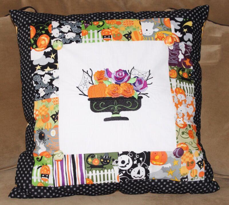 Halloween October Blooming Basket Pumpkins Embroidered Pillow Handmade REDUCED