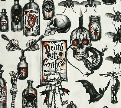Dark Magic Alchemy Potion Skulls Alexander Henry Cotton Fabric Fantasy Halloween - Henry Halloween