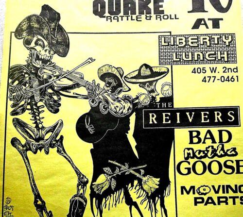 PUNK QUAKE BAD MUTHA GOOSE REIVERS MOVING PARTS 1988 Austin Original poster RARE