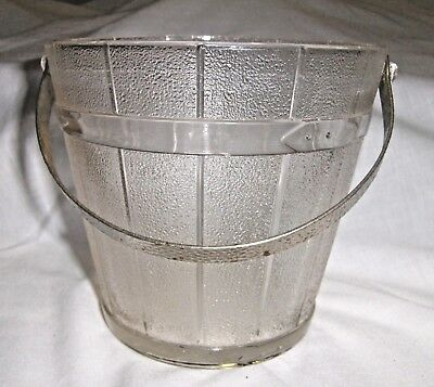 Ice Bucket Frosted Glass with Hammered Metal Handle Wood Bucket Design