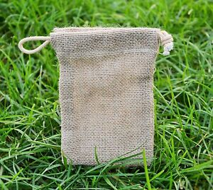 10 X Mini Jute Hessian Drawstring Pouch  Wedding/Gift/Party Favour Bag