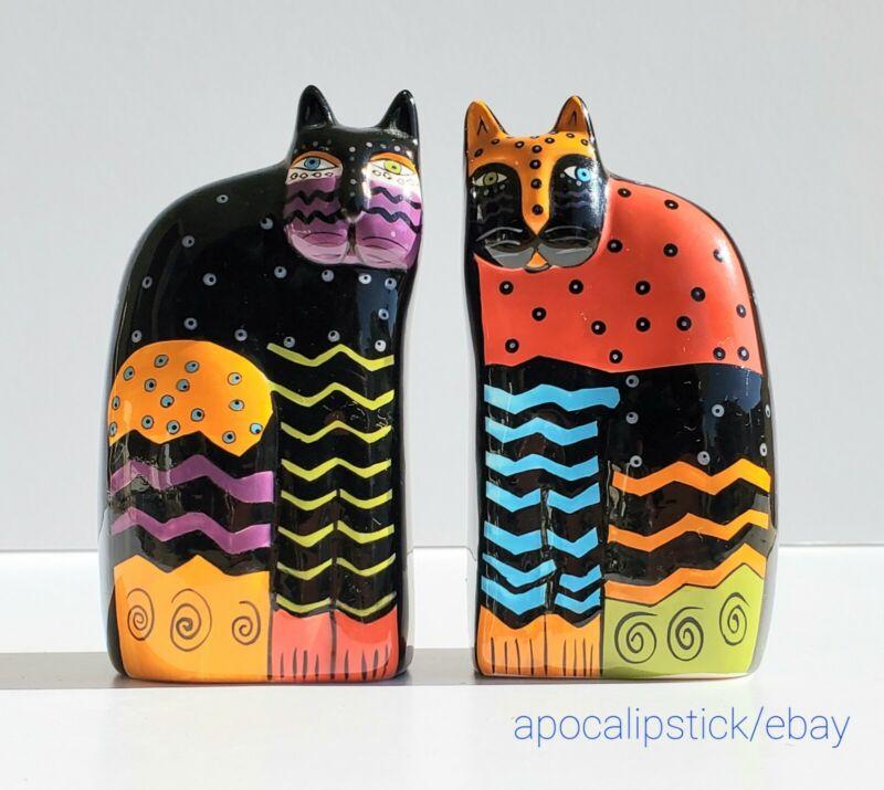 Vintage Laurel Burch Multi-Color Cat Salt & Pepper Shakers by Ganz Black Ceramic