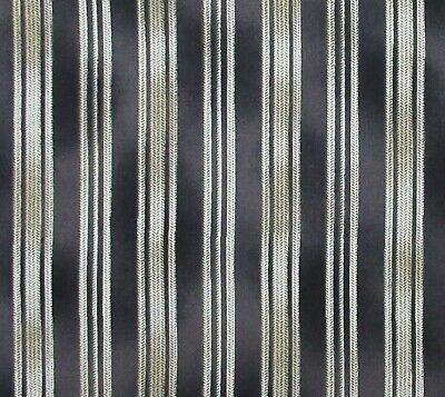 Dark Gray Charcoal Ivory Natural Ticking Stripe Cotton Quilting - Dark Natural Fabric