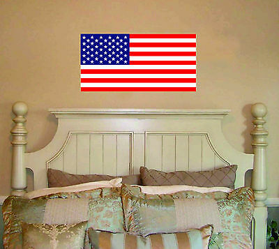 USA Flag Vinyl Wall Decal Decor bed room removable United States of America ()