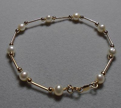 14K MEXICO SOLID YELLOW GOLD FRESHWATER PEARL BEAD BRACELET 7 INCH