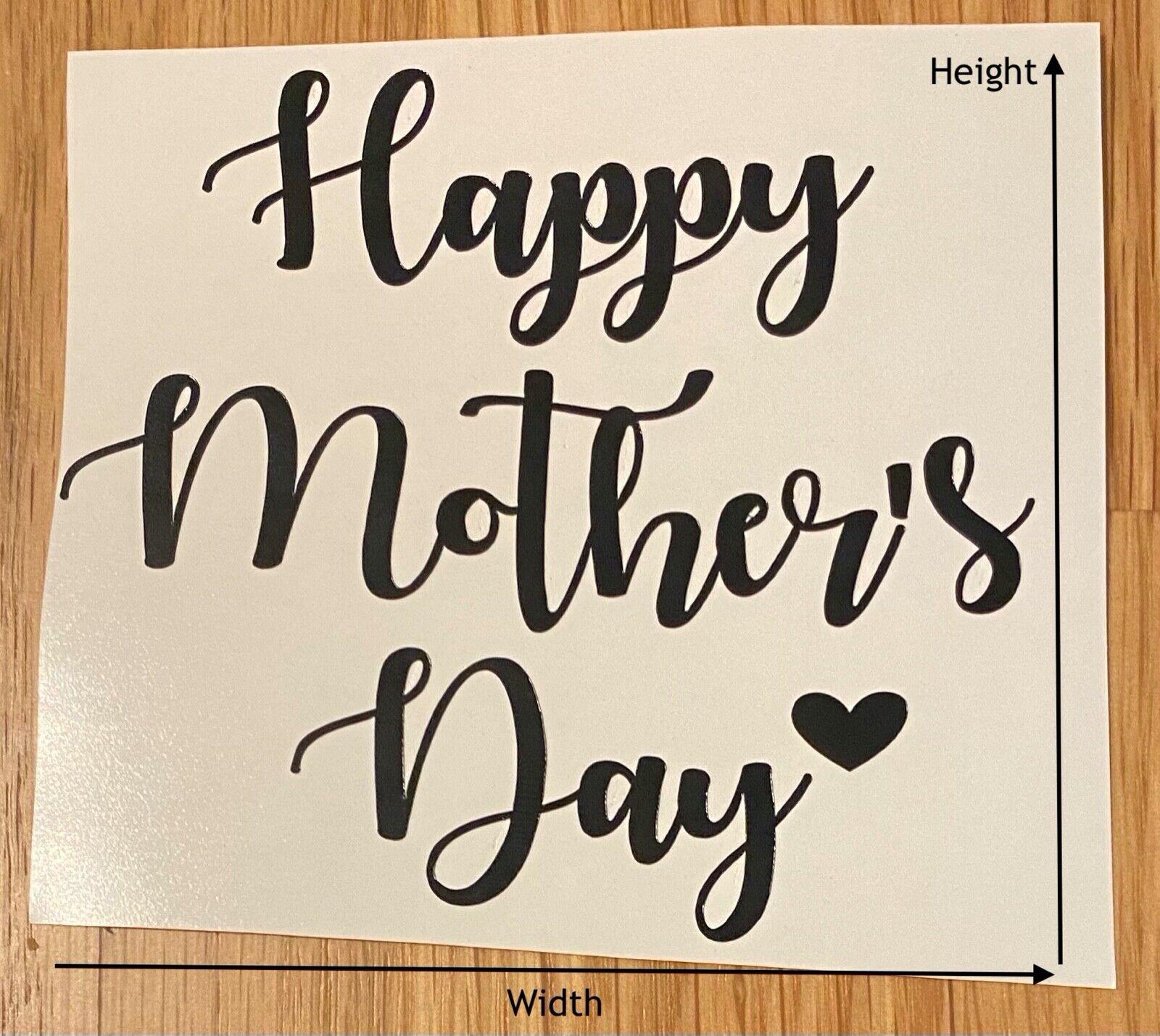 HAPPY MOTHERS DAY Vinyl Sticker & Heart Rose Gold Black Box Bottle Wine Glass 1