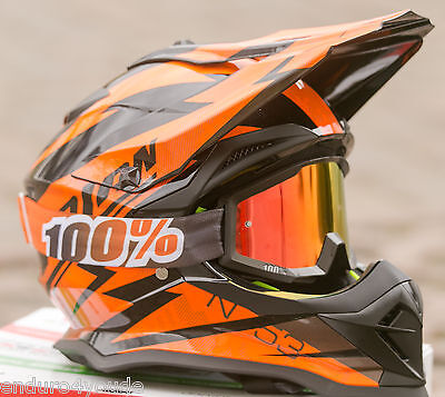 100% Strata MX Brille verspiegelt  Motocross Enduro Mandarin + klares Glas!