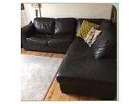 Leather chaise corner sofa