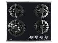 beko select 4 burner black gas hob new 12 mths gtee