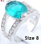 New- 18K White Gold Plated Aquamarine Oval Ring. Size 8