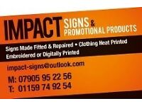 Vehicle signage, Shop signs, T shirt printing, Workwear printed, Promotional products