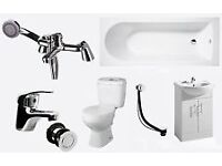 Full Bathroom Suite. Bath, Toilet, Taps & Vanity Unit.