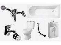 Full Bathroom Bath Complete Suite. Vanity Unit. Toilet, Taps & Waste.