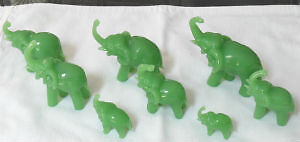 SET OF 8 JADE ELEPHANTS