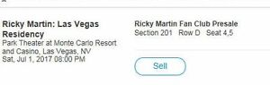 2 Hard Copy Tickets Ricky Martin Las Vegas July 1 Monte Carlo
