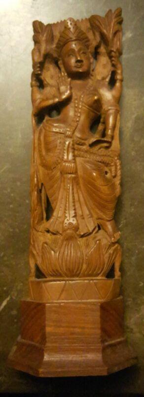 Vintage hand carved teak wood Lord Shiva