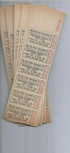 Vintage Lot 100 tickets Pee Wee Valley Amusement Co. Cincinnnati 15 Ohio