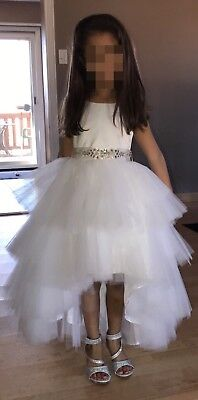 White satin top tulle bottom tiered high low flower girl dress