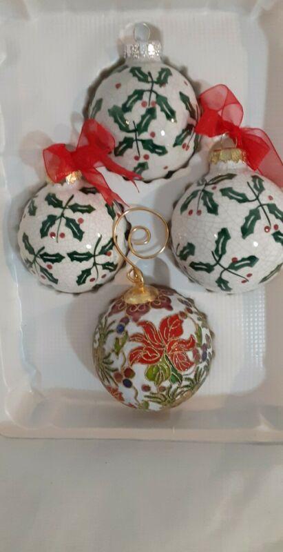 Cloisonne Ornament/ Small & 3 Ceramic Ornaments