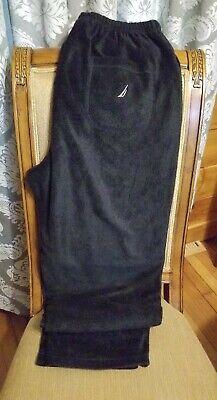 Nautica Mens Pj Fleece Black w Wht Pants Lounge Sleepwear Medium