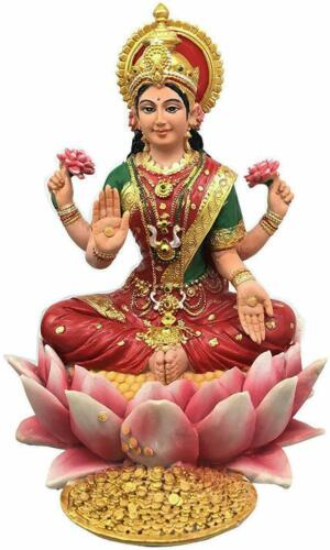 Hinduism Goddess of Wealth Lakshmi Sit on Lotus Good Luck Figurine Hindu Decor