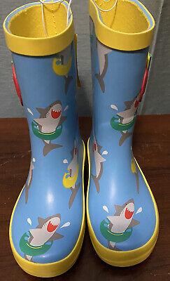 """** NWT- Boys """"Shark"""" Rain Boots- Sz Medium 7/8"""