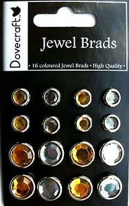 16 Dovecraft High Quality Jewel Brads in Gold & Silver New