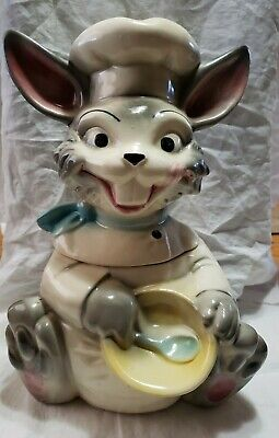 Vintage Brush McCoy W25 Happy Bunny Rabbit Chef Cookie Jar 1965 Art Pottery