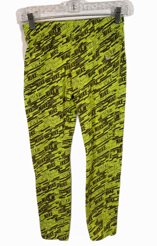 Nike Girls Leggings Size Large Green Volt Black