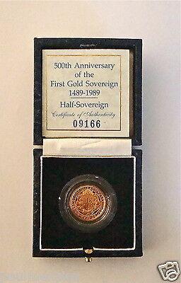 1989 ROYAL MINT TUDOR ROSE GOLD PROOF HALF SOVEREIGN COIN WITH BOX & COA