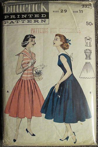 Vtg Butterick Sailor Collar or Boat Neckline Top & Full Skirt Pattern #7325 Sz11