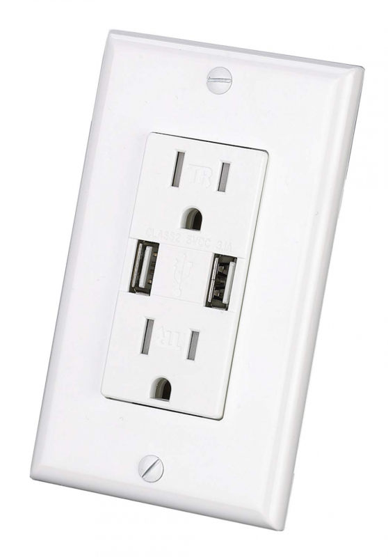USB Outlet UL Listed High Speed Dual USB Charger and Duplex