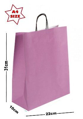 25 x A4 Paper Party Gift Bags ~ Boutique Shop Loot Carrier Bag ~ Choose Colour