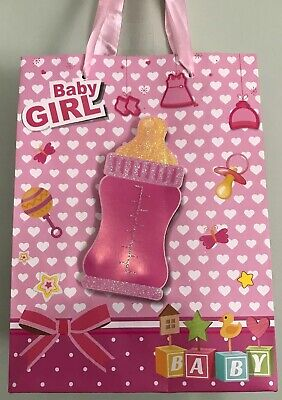 Pink Baby Girl Shower Party SWEET GIFT BAG 3D Bottle Birthday 9.5 x 7 X 3 Medium ()