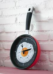 Modern Unique Egg Frying Pan Clock Cutlery Kitchen Wall Clock Decoration Red