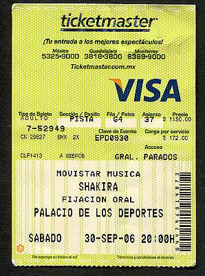 Original 2006 Shakira Concert Ticket Stub Mexico City  Fijacion Oral