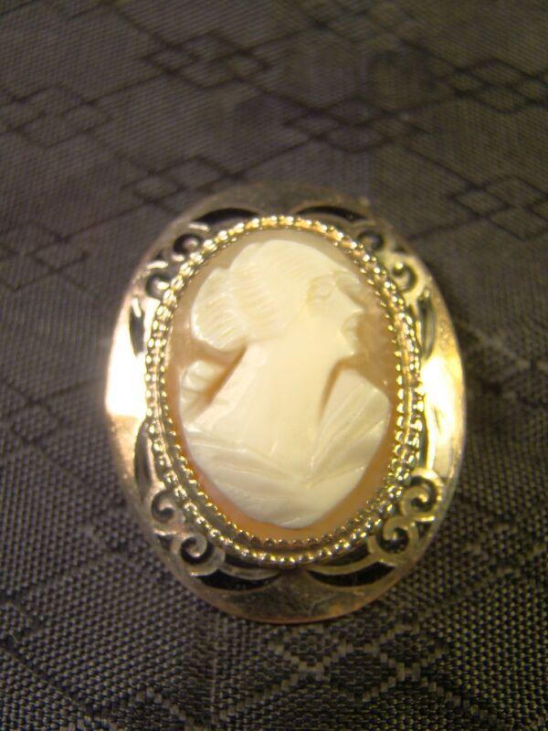 Vintage Victorian Genuine Carved Shell Black Enamel Cameo Pin Brooch