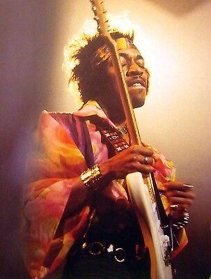 JIMI HENDRIX w/ headband clipping 1960s psychedelic color photo Fender guitar Jimi Hendrix Headband