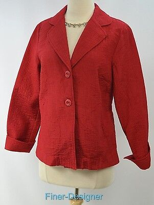 CWC Coldwater Creek blazer suit JACKET light coat red thin quilted pucker 10 NEW