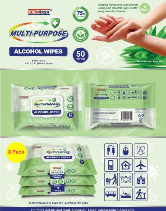 GERMISEPT MULTI-PURPOSE PLANT BASED ALCOHOL WIPES 75% ALCOHOL (50 SHEETS) 3 PACK