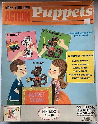 1966 Make Your Own Action Puppets -Milton Bradley 7022 parrot tiger wolf game MB, used for sale  Gloucester Point