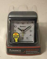 NEW Advance Black Case Quartz Analog Clamshell Travel Alarm Clock Lighted Dial