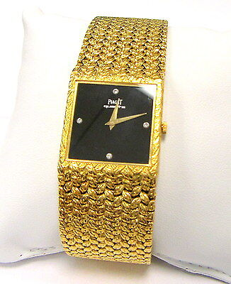 Mans Solid 18K Gold Piaget Mesh Bracelet Quartz Watch w Original Box