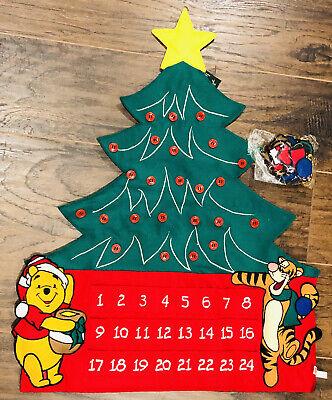 New Disney Winnie the Pooh+Tigger Felt Advent Calendar Christmas Wall 19x25 Park