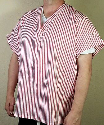Candy Striper Scrub Top Nurse Uniform V-Neck Unisex 2XL Halloween VTG NEW USA H1