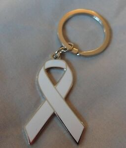 ***NEW*** Lung Cancer Awareness ribbon enamel keyring. Charity, badge.