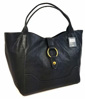 Frye E/W (EAST/WEST) SLOUCHY Black Leather TOTE Bag $428 Style 34DB691-BLK