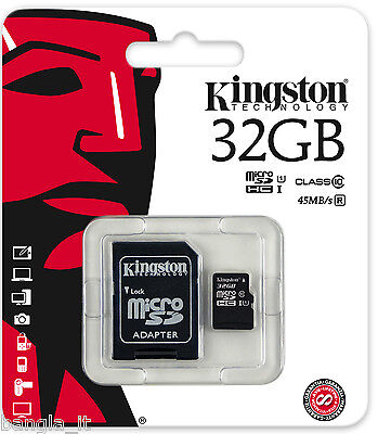 KINGSTON 32GB Micro SD MEMORY CARD UHS 1 CLASS 10 WITH ADAPTER